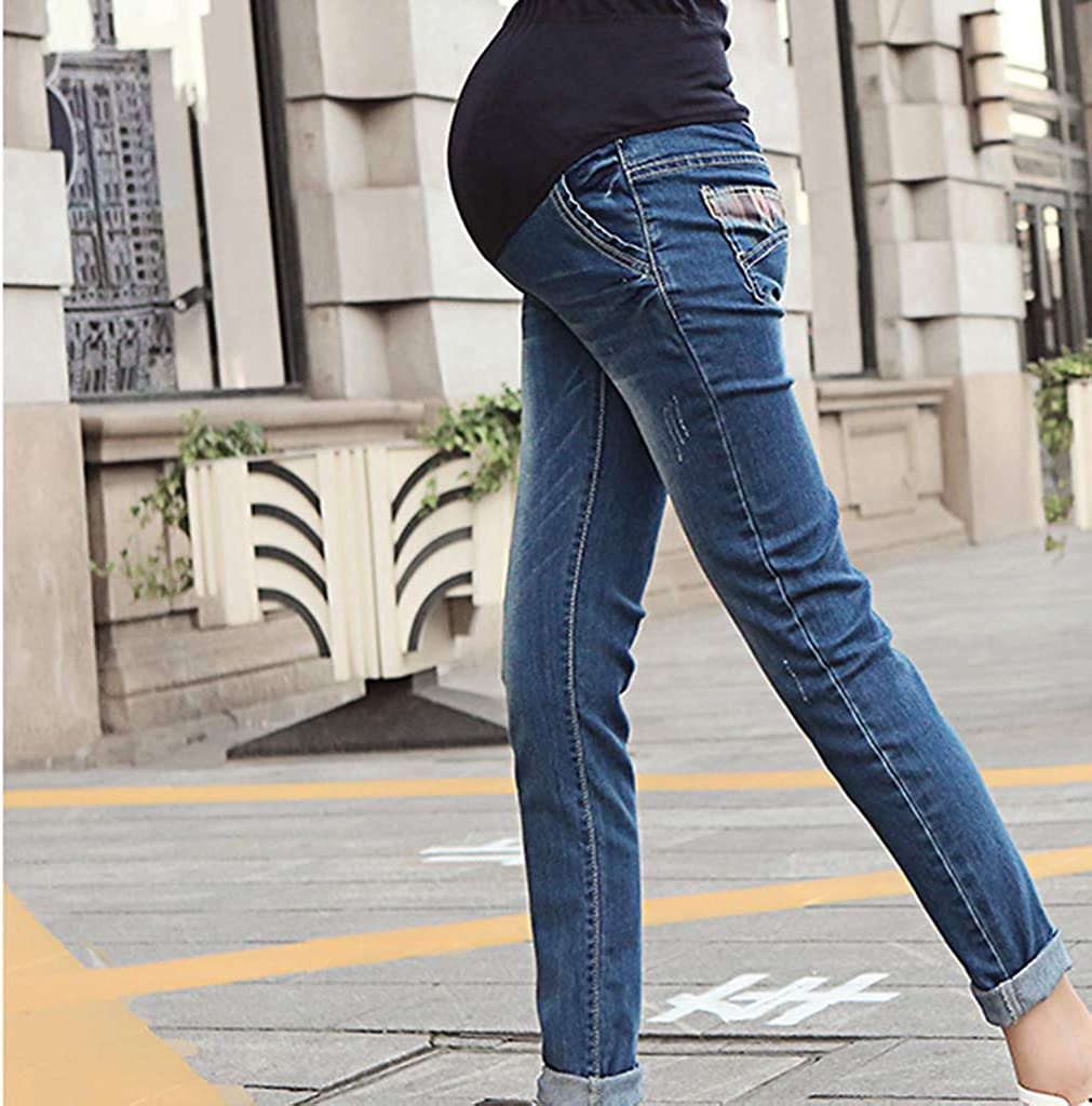 MEOILCE Plus Size Pregnant Pants Woman Stretch Jeans Maternity Pants Trousers Nursing Prop Belly Legging