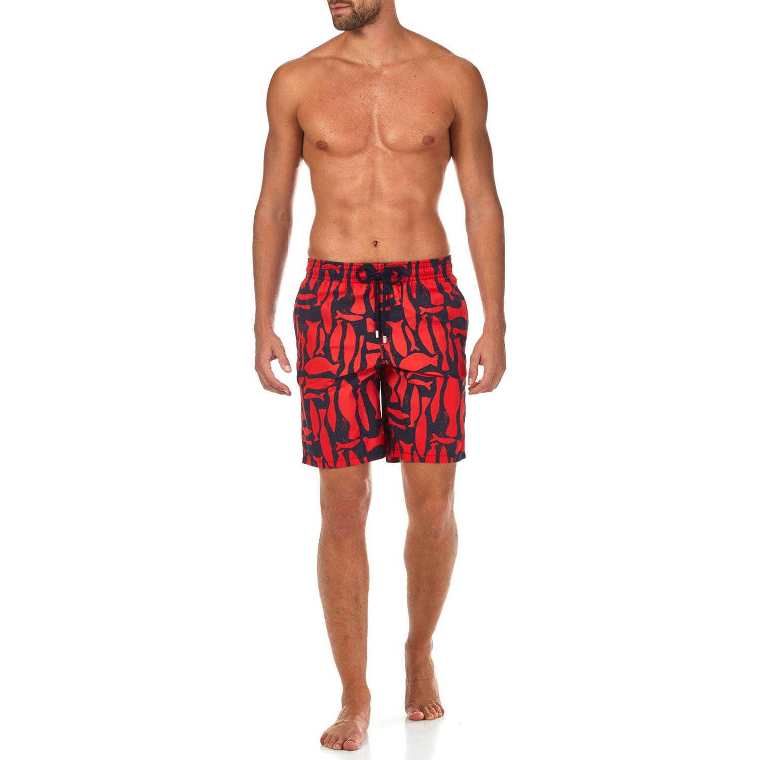 6eba68afb4 Vilebrequin - Silex Fishes Long Cut Swim Shorts - Men - Poppy red - L:  Amazon.co.uk: Clothing