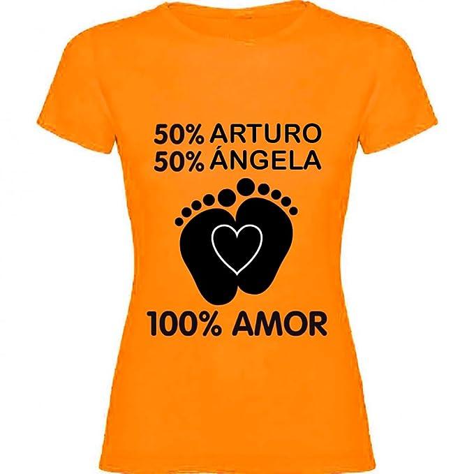 Regalo Personalizable para Mujeres Embarazadas: Camiseta porcentajes Personalizada con los Nombres de la Madre y del Padre del bebé (Naranja): Amazon.es: ...