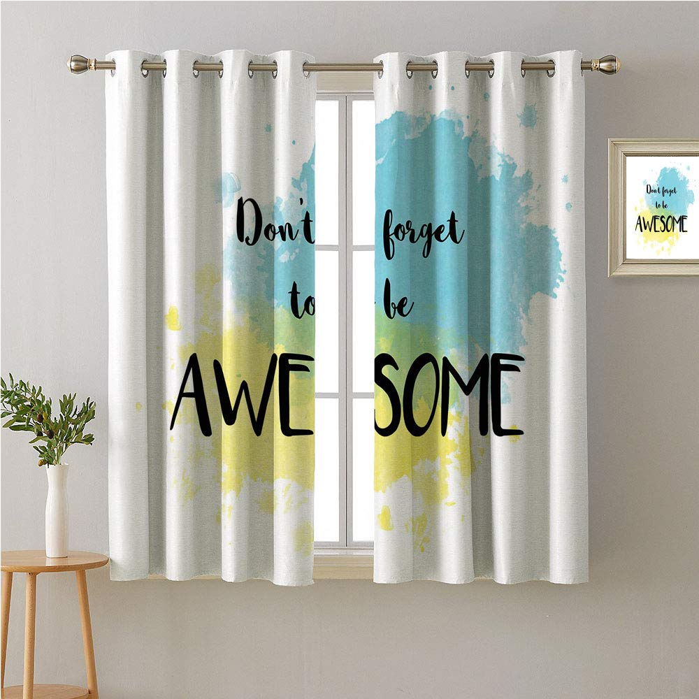 Jinguizi Be Awesome Grommets Set of 2 Panels,Quote on Watercolored Background with Splashed Ink Blended Look,reducing Noise Darkening Curtains,63W x 45L