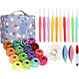 16 Rainbow Crochet Thread & 10 Small Crochet Hooks with Storage Bag, Complete Thread Crochet Kit with 2 Tatting Shutters and