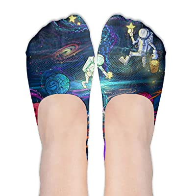 Xiuarrowxiu No Show Socks Outer Space Girls' Non Slip Crew Low Cut Liner Ankle Boat Stockings