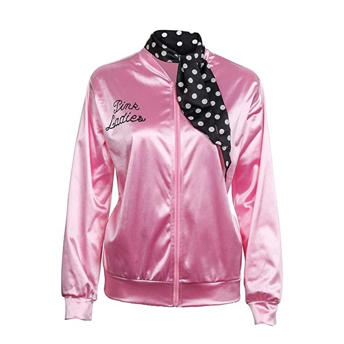 Amazon.com: 1950s - Chaqueta de satén rosa con bufanda de ...