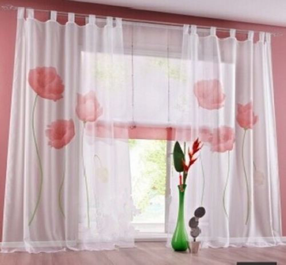 Home Decor Lotus Printing Floral Voile Sheer Window Curtain Panel-Tab Top Window Drapes Treatment for Living Room/Bedroom Red