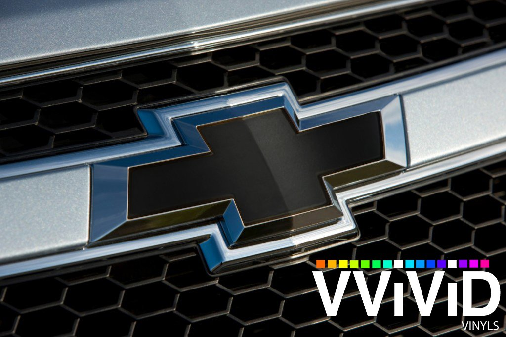 VViViD XPO Matte Black Chevy Bowtie Logo Wrap Kit (Extra-Wide Roll (17.75'' x 60''))
