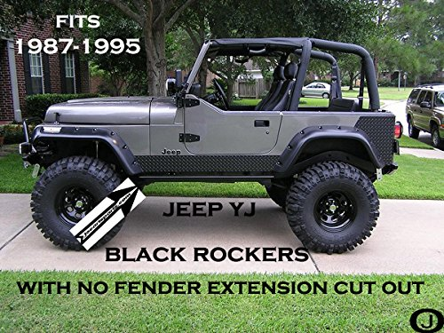 Jeep YJ Black Diamond Plate Side Rocker Panel with No Cut Outs