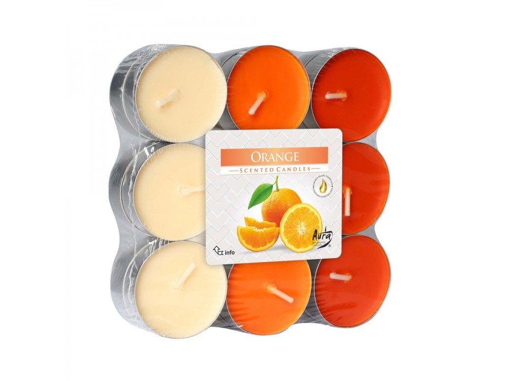 GIRM® -HX922316 Candele profumate , di paraffina, all'aroma di arancia. Set 18 Pezzi - Tealight Profumatore per ambiente. Candele odorate per la casa . Aromaterapia AB.M