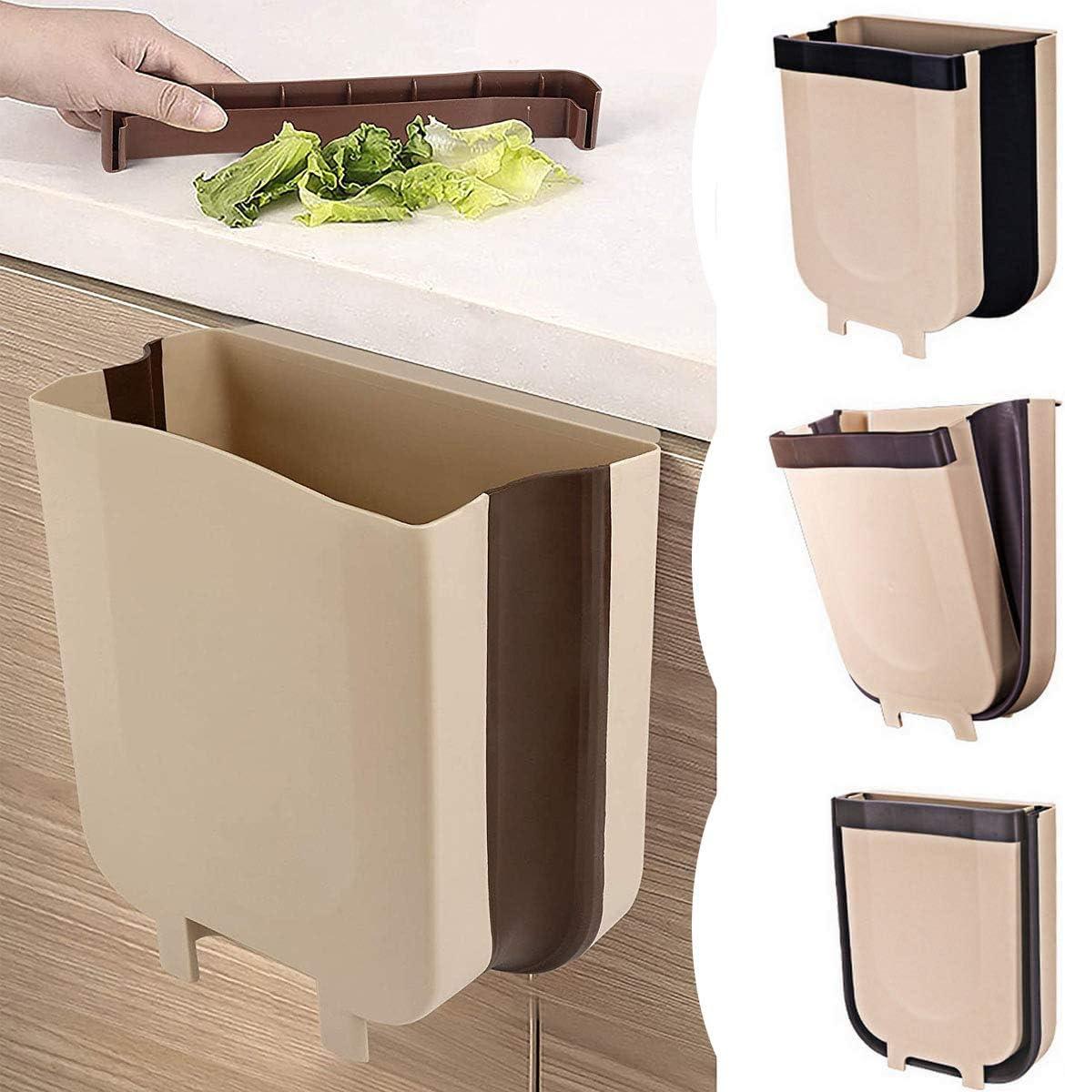 Cubo de basura plegable Tang Yuan para cocina, oficina, dormitorio (9 litros)