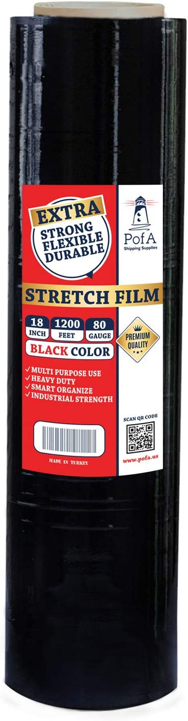 Stretch Film Plastic Wrap Roll - Black, 18 Inch x 1200 Feet x 80 Gauge (20 Micron), 1 Pack, Industrial Heavy Duty Shrink Wrap for Packing, Shipping, Pallet, Cling, Furniture, Moving Supplies by PofA