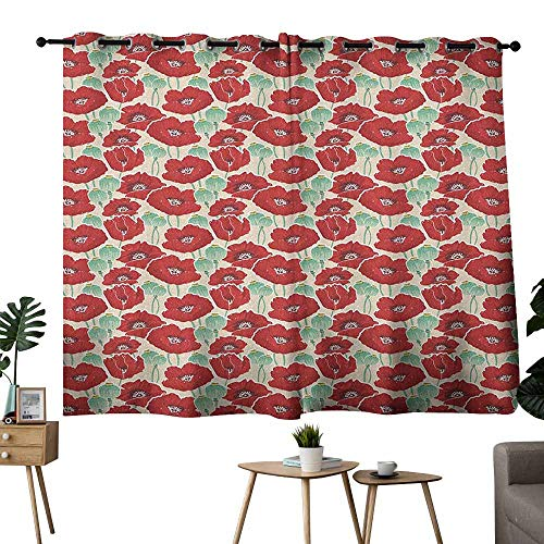 Poppy Customized Curtains Spring Garden Pattern with Red Blossoms Seed Capsules and Little Dots Noise Reducing 55