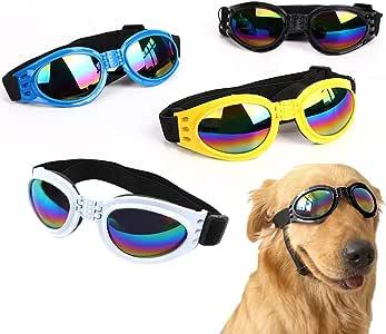 4 gafas de sol para mascotas con protección UV para perros, cachorros, gafas de sol con correa ajustable, elegantes gafas de sol para perros grandes, medianos y pequeños