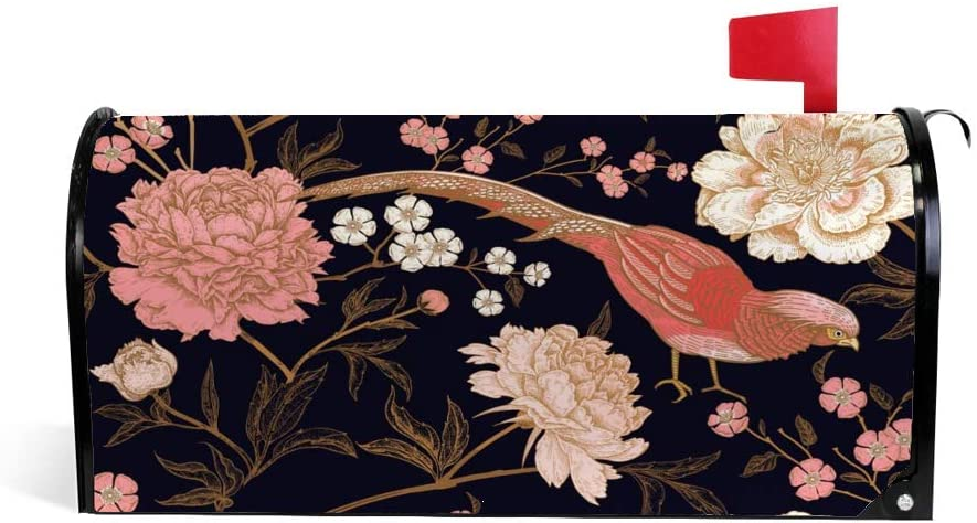 Hapuxt Welcome Mailbox Covers Magnet 18x21 Inch PVC Mailboxes Wraps Post Letter Box Cover Peonies Pheasants Floral Vintage Seamless Pattern Durable Waterproof Garden Outdoor Home Decoration
