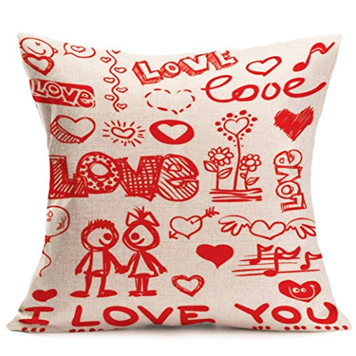 2017 Valentine's Day Pillow Case,Elevin(TM)New Lovers Painting Square Linen Cushion Cover Throw Waist Pillow Case Sofa Bedroom Home Decor Good Valentine's Gift (F)