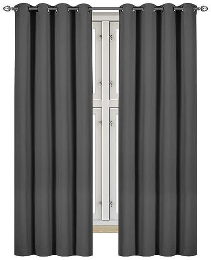 Black Room Darkening Curtains.Utopia Bedding 2 Panels Blackout Room Darkening Curtains Window Curtains Panels Drapes W 46 X L 72 Grey 8 Grommets Per Panel 2 Tie Backs