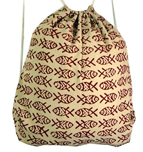 Guru-Shop Turnbeutel Rucksack Blockdruck, Hippie Beutel, Herren/Damen, Beige, Baumwolle, Size:One Size, 45x45 cm, Ausgefallene Stofftasche