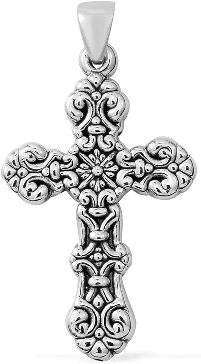 925 Sterling Silver Swirling Scroll Celtic Cross Pendant for Women Oxidized Prayer Vintage Boho Jewelry 18""