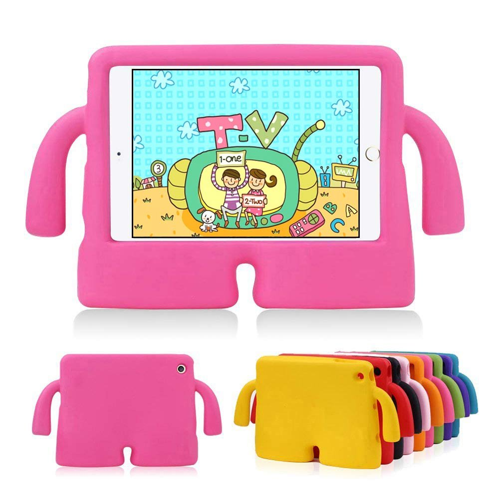 Lioeo iPad Mini Case for Kids iPad mini 4 Case with Handle Stand Shock Proof Cover Lightweight EVA Foam Protective Cases and Covers for Apple iPad Mini 4 3 2 1 7.9 inch (Hot Pink)