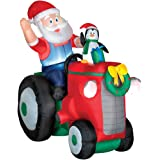 Gemmy Airblown Animated Santa With Penguin on a Tractor
