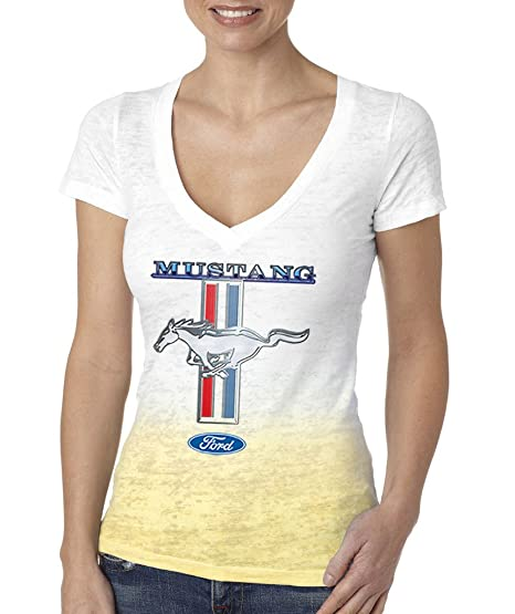 105b2bf01057 Amazon.com  Buy Cool Shirts Ladies Ford Shirt Mustang Stripe Ombre ...