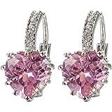 Sanwood Damen Pink Kristall Charming Herz Ohrringe