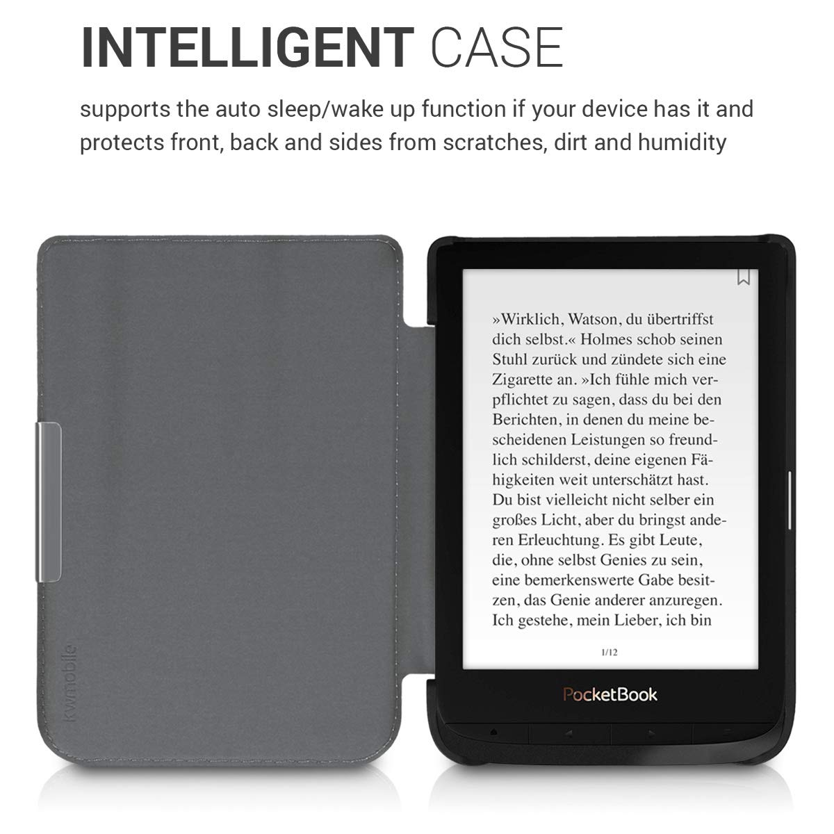 Book Style PU Leather Protective e-Reader Cover Folio Case kwmobile Case for Pocketbook Touch Lux 4//Basic Lux 2//Touch HD 3 Brown//Light Brown