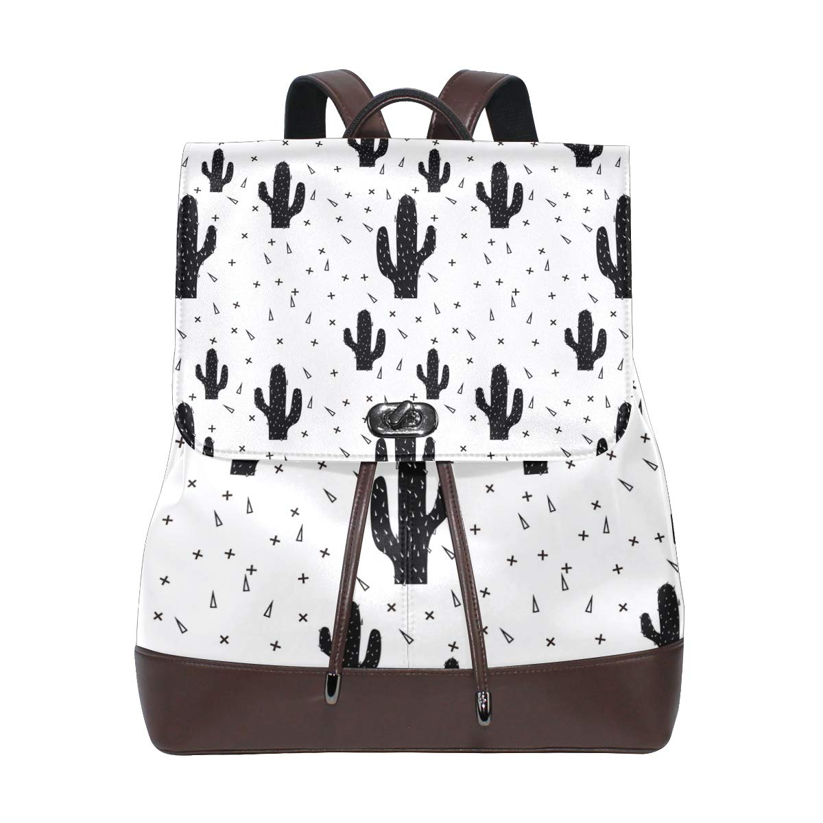 Leather Abstract Modern Cactus Black Backpack Daypack Bag Women