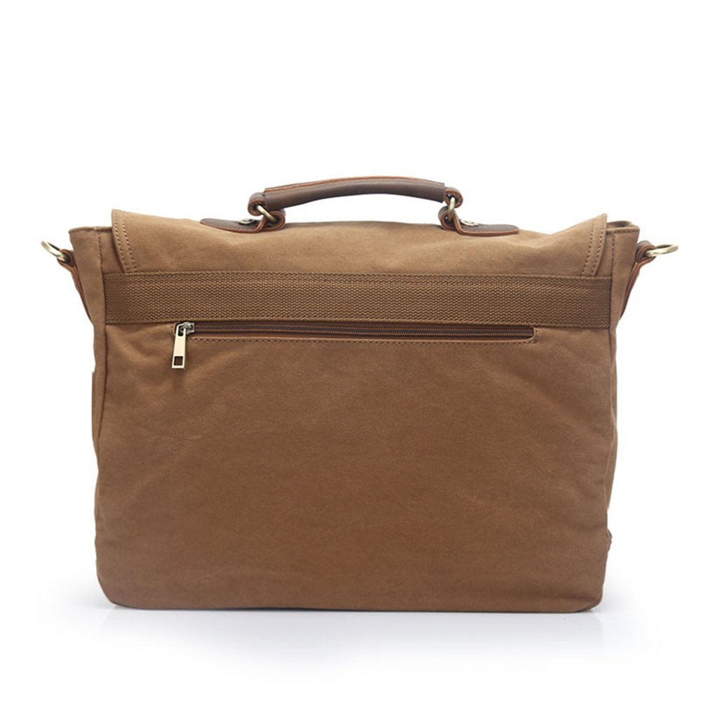 Color : Khaki XIAOPING Office Canvas Travel Computer Bag Men and Women School Portable Bag