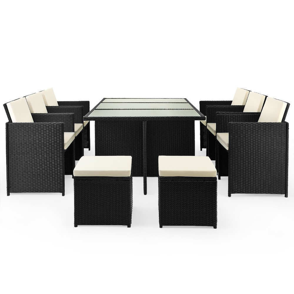 Deuba 991020 Poly Rattan Garden Furniture Set Cube Lounge Seat ...