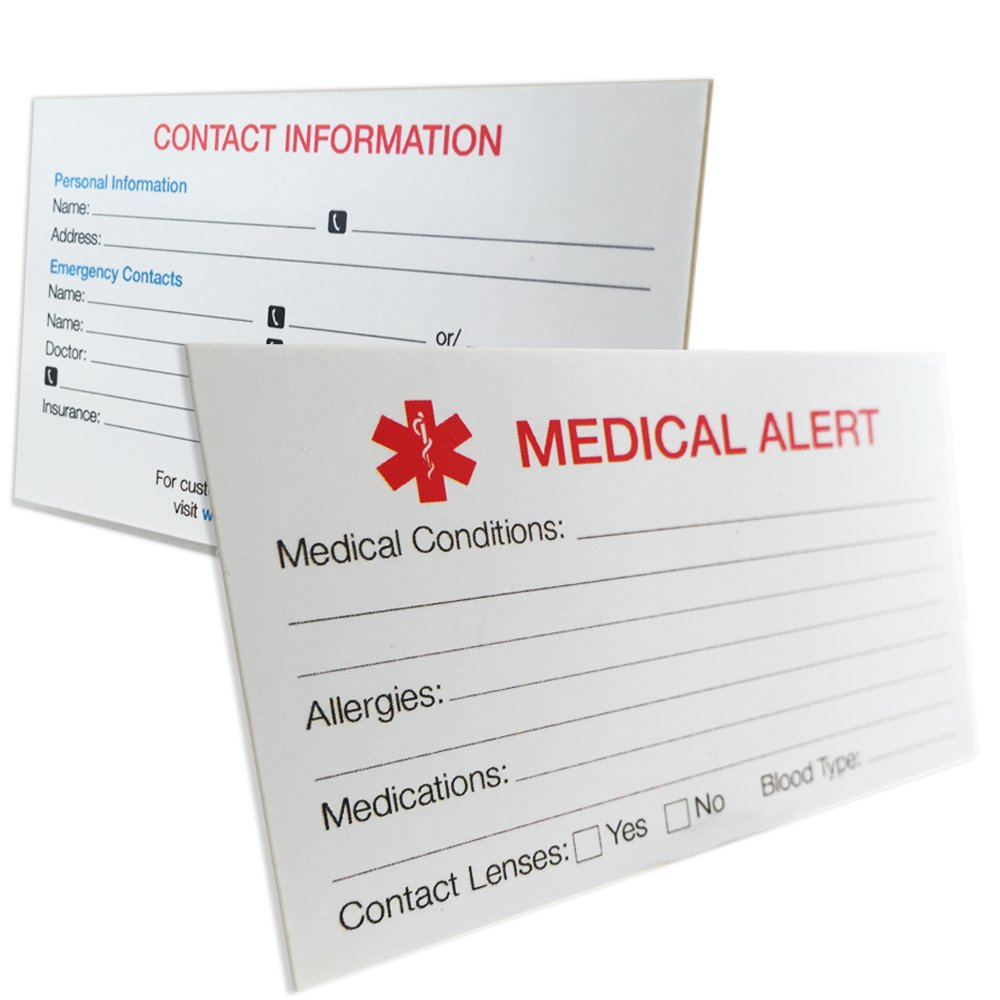My Identity Doctor - 1 MyIDCard Medical Alert ID Thick 400lb Card Stock Made in USA