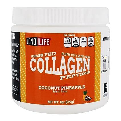 LonoLife De coco piña péptidos de colágeno con 10g de proteína, de 8 onzas de