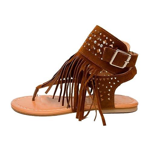 014b12fd7ad1 AOJIAN Women Fashion Flower Girls Flip Flops Beach Sandals Bohemia Flat  Sandals (4.5
