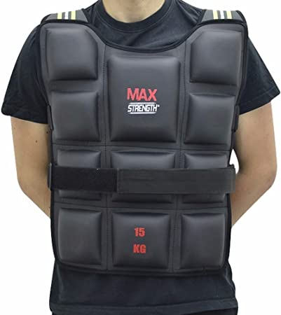 20kg Weighted Weight Vest Jacket Adjustable Strength Training Running Gym Fit