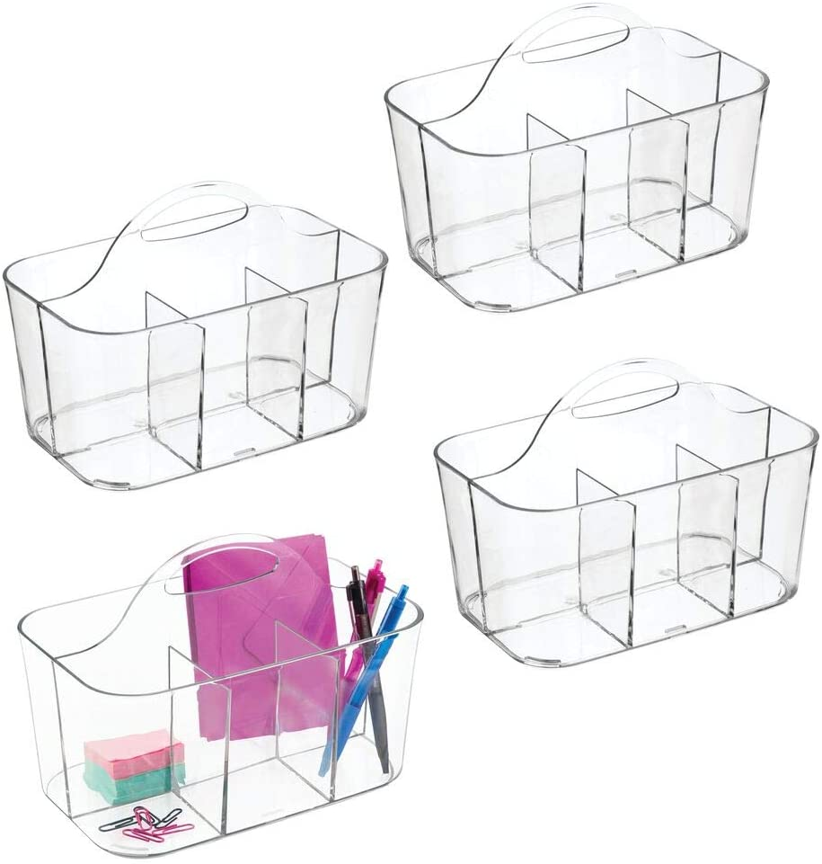 mDesign Small Office Storage Organizer Utility Tote Caddy Holder with Handle for Cabinets, Desks, Workspaces - Holds Desktop Office Supplies, Gel Pens, Pencils, Markers, Staplers - 4 Pack - Clear