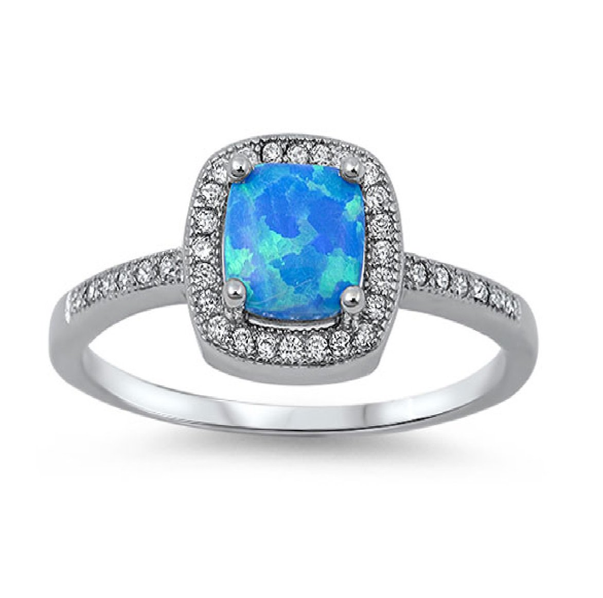 CloseoutWarehouse Blue Simulated Opal Princess Halo Ring Sterling Silver Size 6