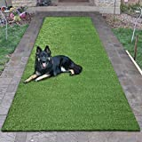 """Sweethome Meadowland Collection Indoor Outdoor Green Artificial Grass Turf Runner Rug 2'7"""" X 9'10"""" Green Artificial Grass/Pet mat Rubber Backed"""
