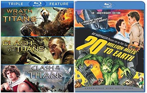 Ray Harryhausen Set - 20 Million Miles to Earth & Clash of the Titans (1981) PLUS Clash of the Titans (2010) & Wrath of the Titans 4-Movie Blu-ray Bundle