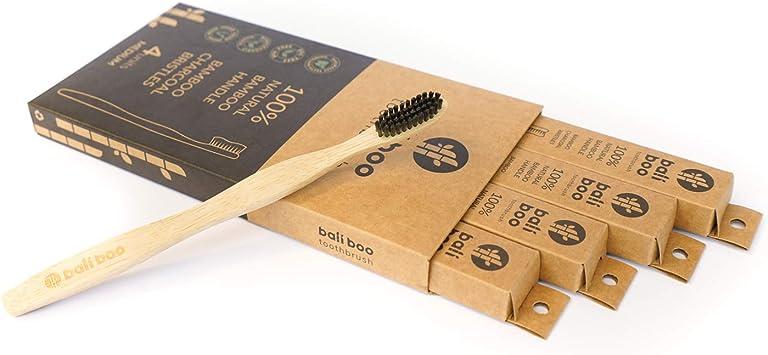 Cepillos de Dientes de Bambú de Bali Boo | Dureza SUAVE | Pack Familiar de 4
