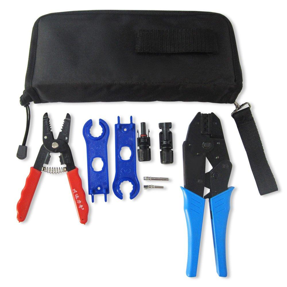 Juego de herramientas para instalación de paneles solares MC4, juego de herramientas para prensar, cortar cables, conectores MC4 (macho-hembra) de paneles ...