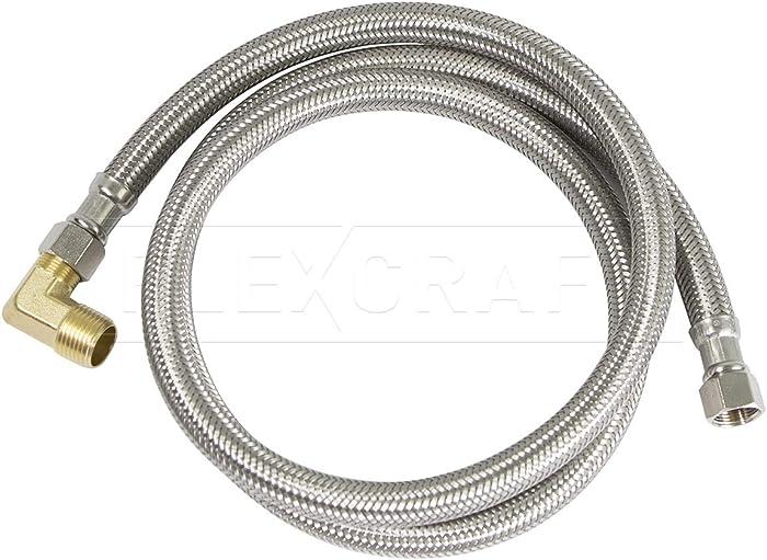 FlexCraft 27712PR-NL, Dishwasher Connector, Connects Dishwasher to Water Supply, Dishwsher Supply Line With Brass Elbow, Braided Stainless Steel 10 Ft