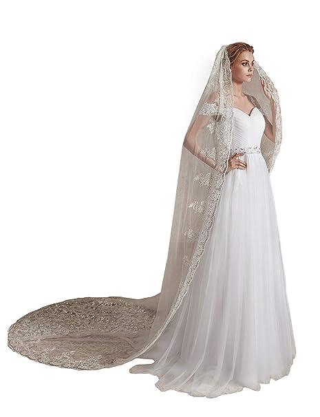 9233ba230f EllieHouse L71 velo largo de encaje con lentejuelas para novia