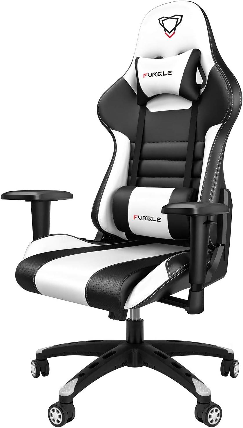 Furgle Office Gaming Chair Silla de Carreras con Respaldo Alto y reposabrazos Ajustables Piel sintética Silla de Videojuegos giratoria con Modo balancín (Negro & Blanco)