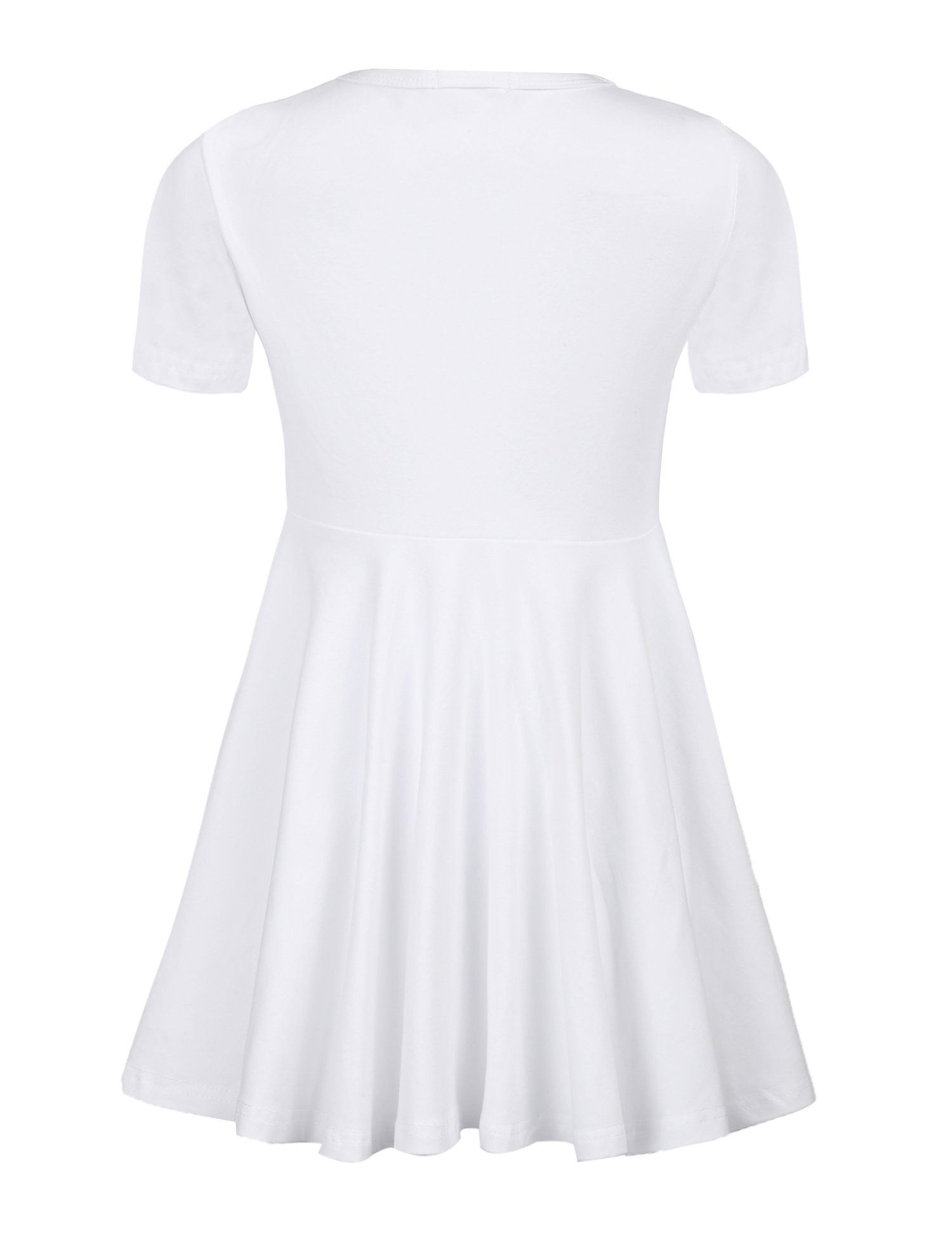 Arshiner Girls Short Sleeve Dress A Line Skater Swing Asymmetrical High Low Hem Casual Dress by Arshiner (Image #3)