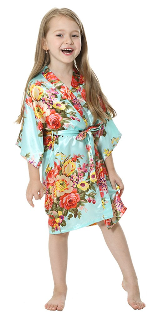 ecc1cd2fd6f JOYTTON Girl s Satin Floral Kimono Bathrobe Flower Girl Robe (8 ...