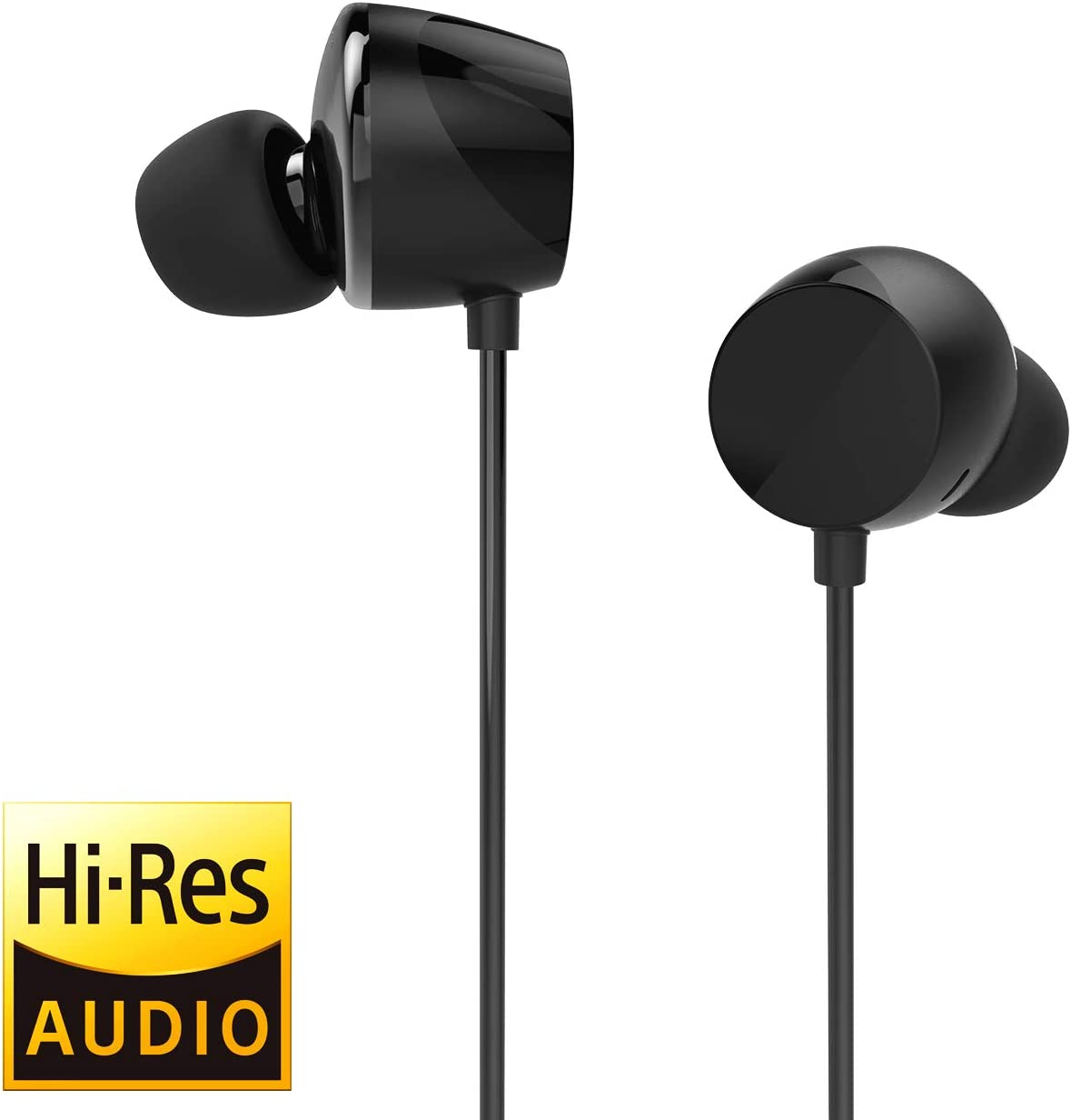 TUNAI Drum Hi-Resolution Audiophile in-Ear Earbud Headphones Powerful Bass and Lively Sound Stage with Improved Noise Isolation Comfortable for Workout, Running and Great for Gaming Shadow Black