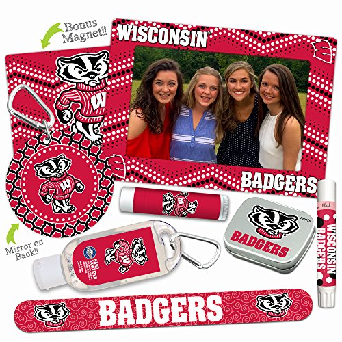 Wisconsin Badgers—DELUXE Variety Set (Nail File, Mint Tin, Mini Mirror, Magnet Frame, Lip Shimmer, Lip Balm, Sanitizer). NCAA Wisconsin Badgers gifts, stocking stuffers. Only from Worthy.