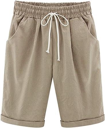 Elonglin - Bermudas para mujer, de algodón, largo hasta la rodilla ...