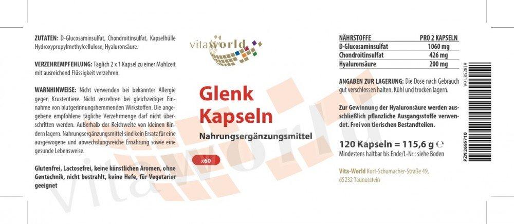 Pack de 3 Glucosamina + Condroitina + Ácido Hialurónico 3 x 120 Cápsulas Vegetales Vita World: Amazon.es: Salud y cuidado personal