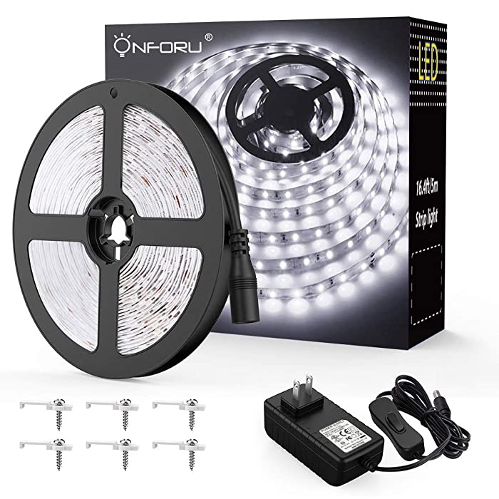 Onforu LED Vanity Mirror Lights Kit, 16.4ft / 5m 300 LEDs Strip Lights for Make up Table, 6000K Daylight White Under Cabinet Lighting Strips, Non-Waterproof LED Tape, UL Listed Power Supply