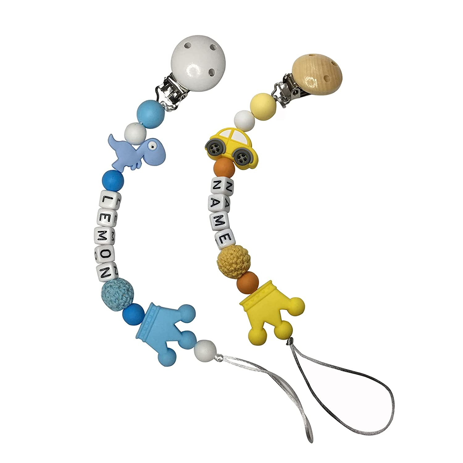 Baby Pacifier Clip with Personalized Name Food Grade Silicone Soothing Toy Lovey Car/Dinosaur Soother Chain Customizable Pacifier Holder Clips Great Gifts for Newborn, 2 Pack(Yellow/Blue)