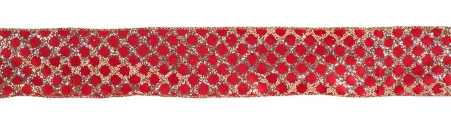 """Melrose Pack of 6 Gold Glitter and Red Diamond Craft Wired Ribbon 2.5"""" x 10 Yds"""